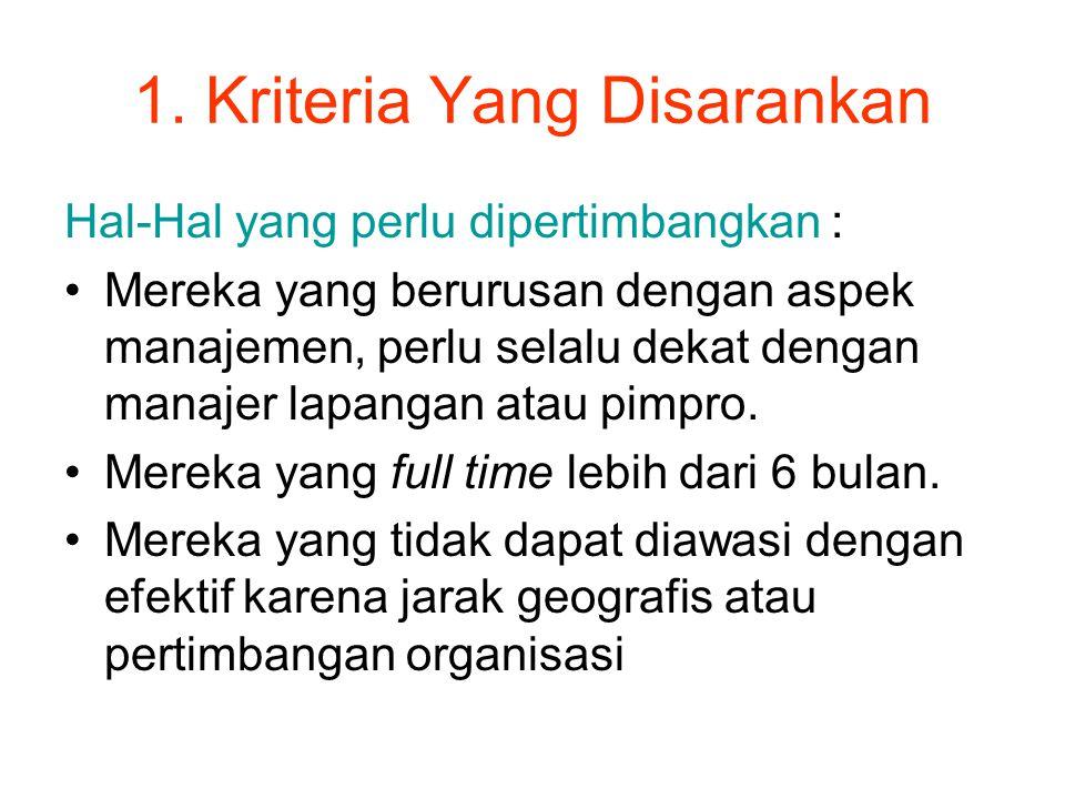 1. Kriteria Yang Disarankan