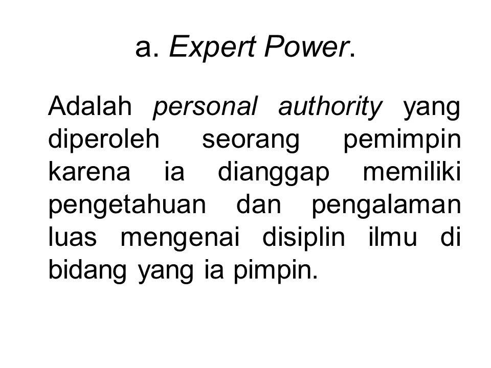 a. Expert Power.