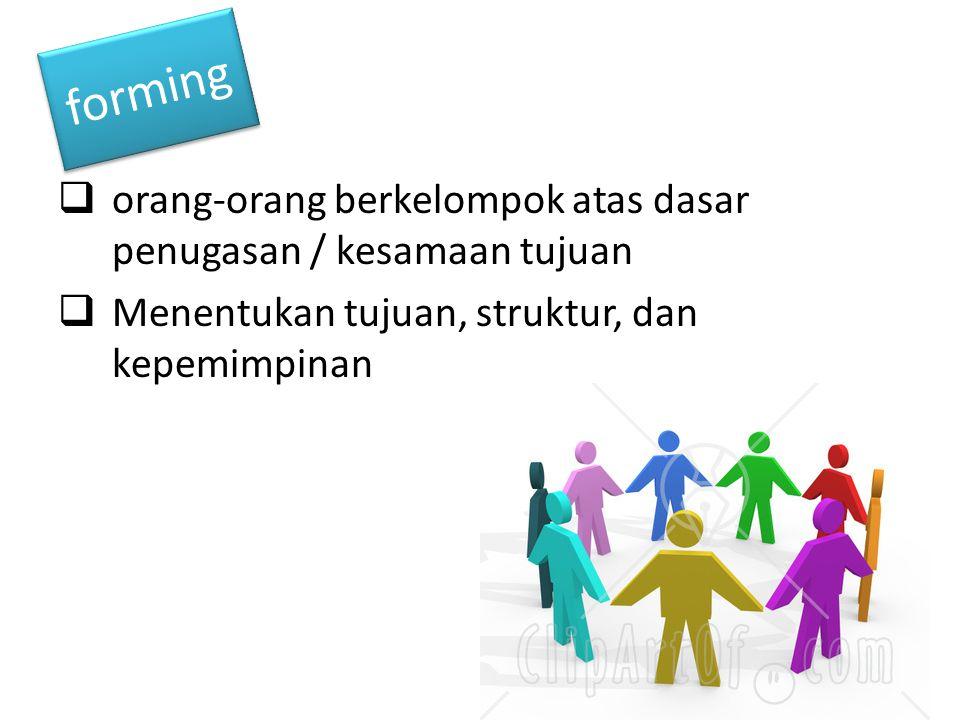 forming orang-orang berkelompok atas dasar penugasan / kesamaan tujuan