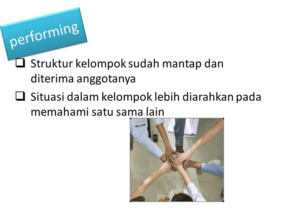 performing Struktur kelompok sudah mantap dan diterima anggotanya