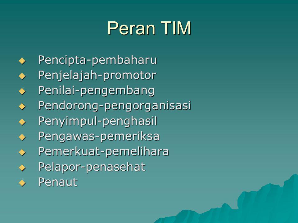Peran TIM Pencipta-pembaharu Penjelajah-promotor Penilai-pengembang