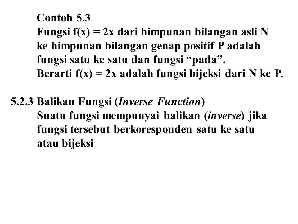 Contoh 5.3 Fungsi f(x) = 2x dari himpunan bilangan asli N. ke himpunan bilangan genap positif P adalah.