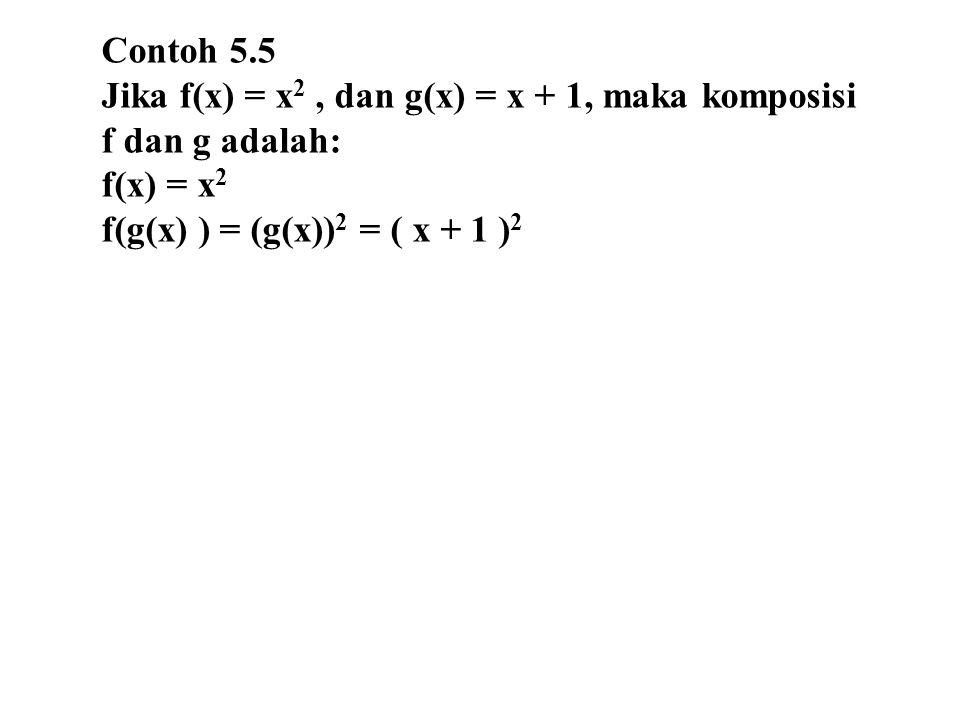Contoh 5.5 Jika f(x) = x2 , dan g(x) = x + 1, maka komposisi.