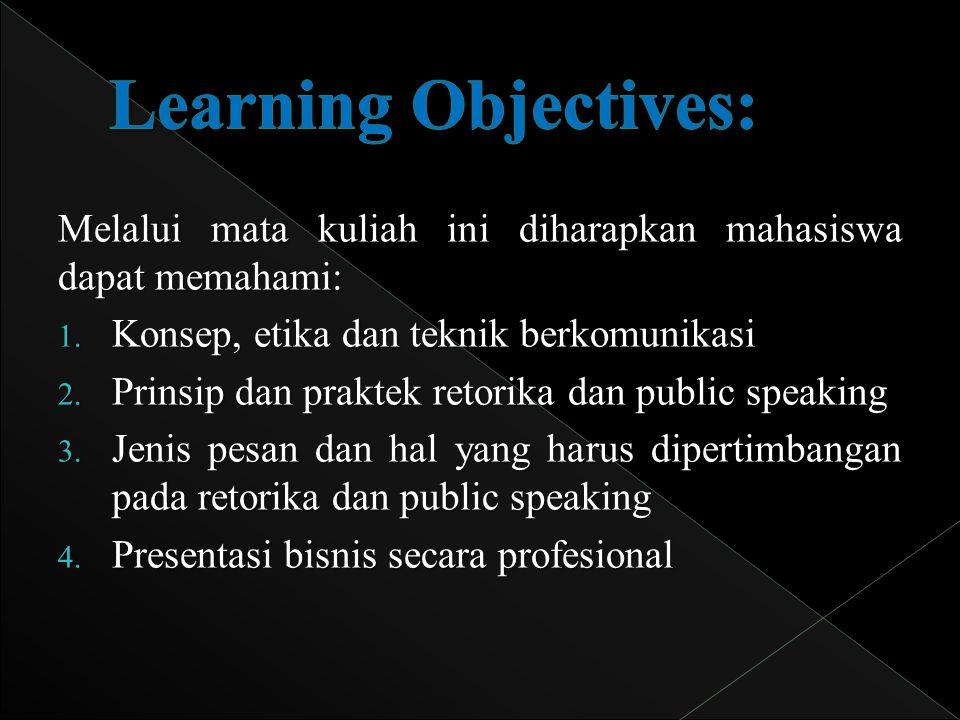 Learning Objectives: Melalui mata kuliah ini diharapkan mahasiswa dapat memahami: Konsep, etika dan teknik berkomunikasi.