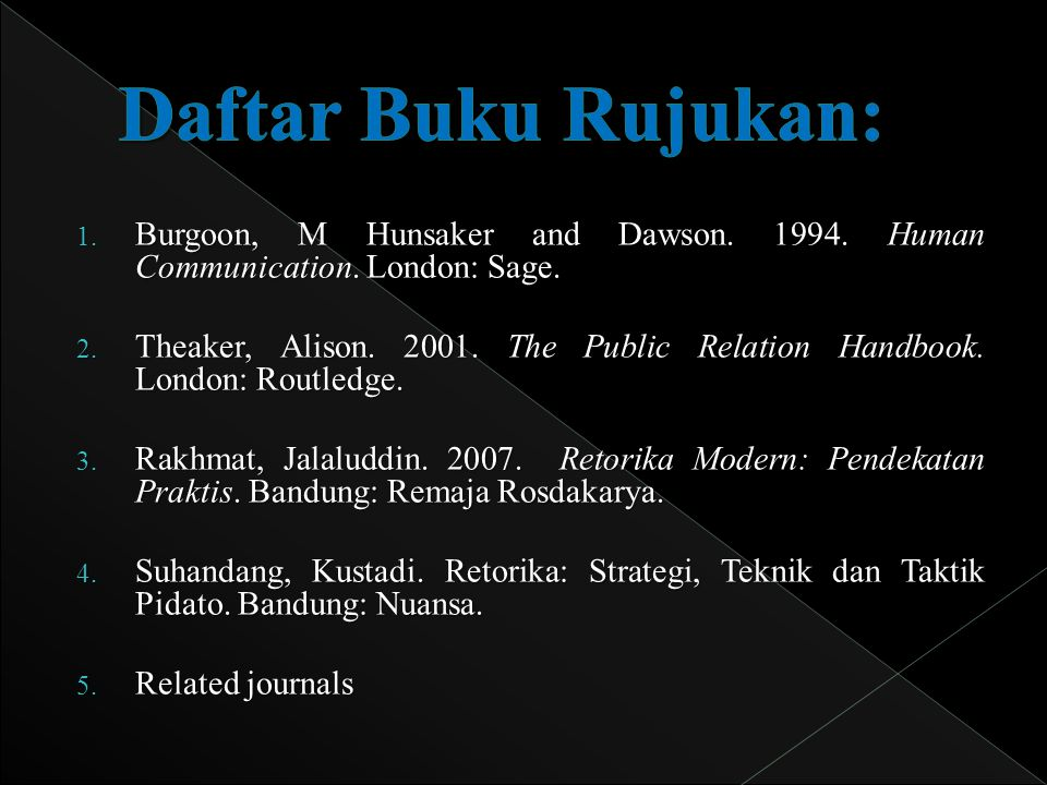Daftar Buku Rujukan: Burgoon, M Hunsaker and Dawson. 1994. Human Communication. London: Sage.