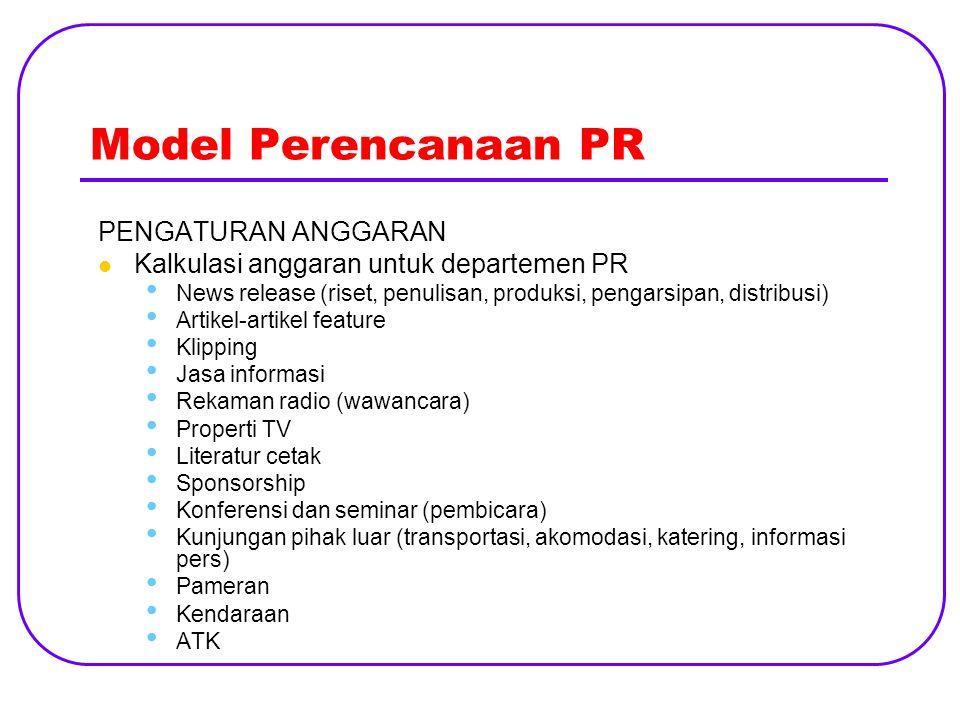 Model Perencanaan PR PENGATURAN ANGGARAN