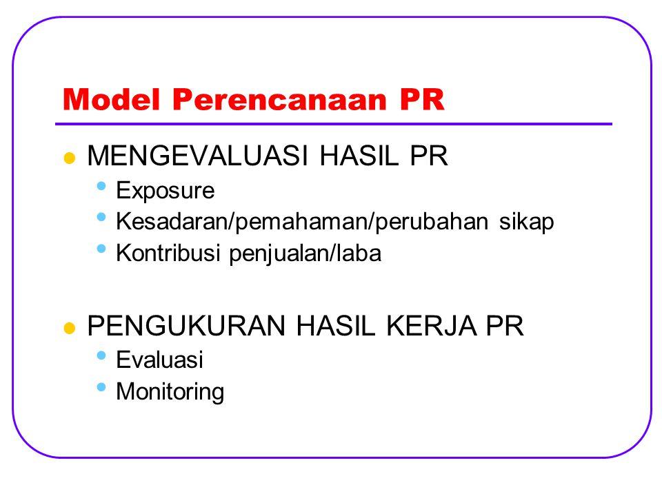 Model Perencanaan PR MENGEVALUASI HASIL PR PENGUKURAN HASIL KERJA PR