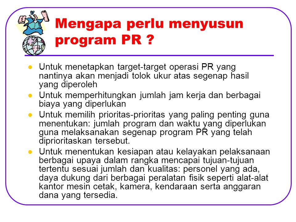 Mengapa perlu menyusun program PR