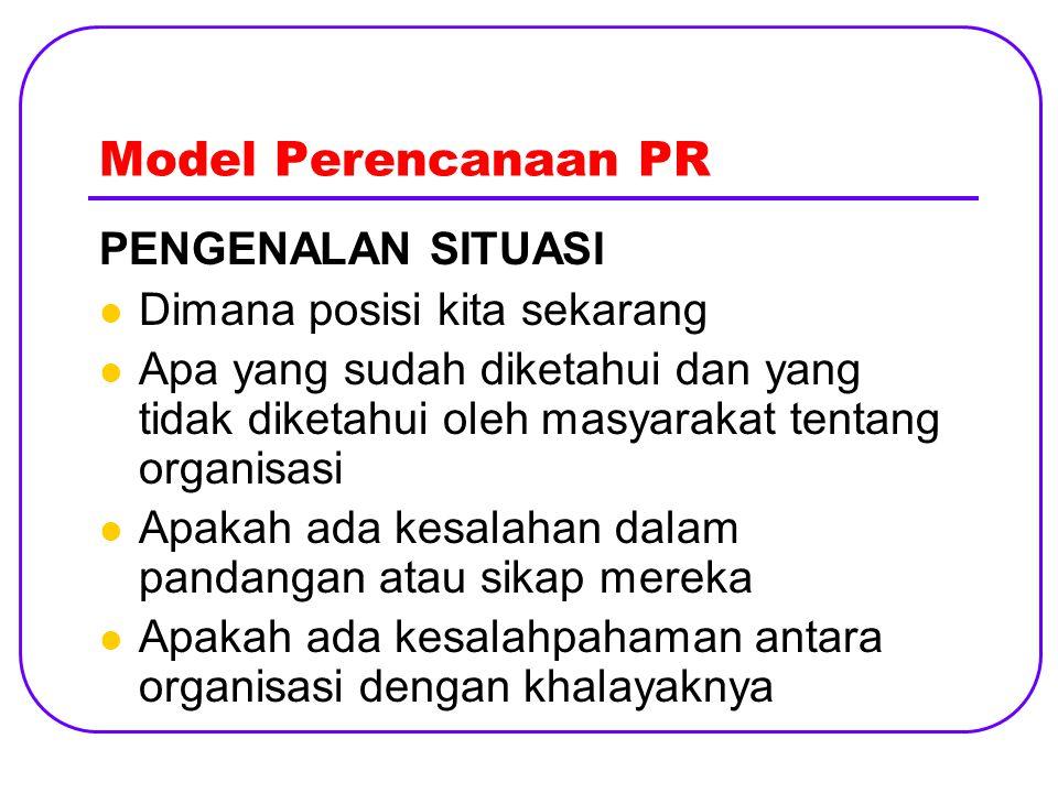 Model Perencanaan PR PENGENALAN SITUASI Dimana posisi kita sekarang