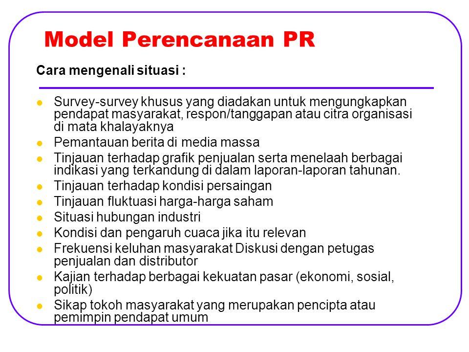 Model Perencanaan PR Cara mengenali situasi :