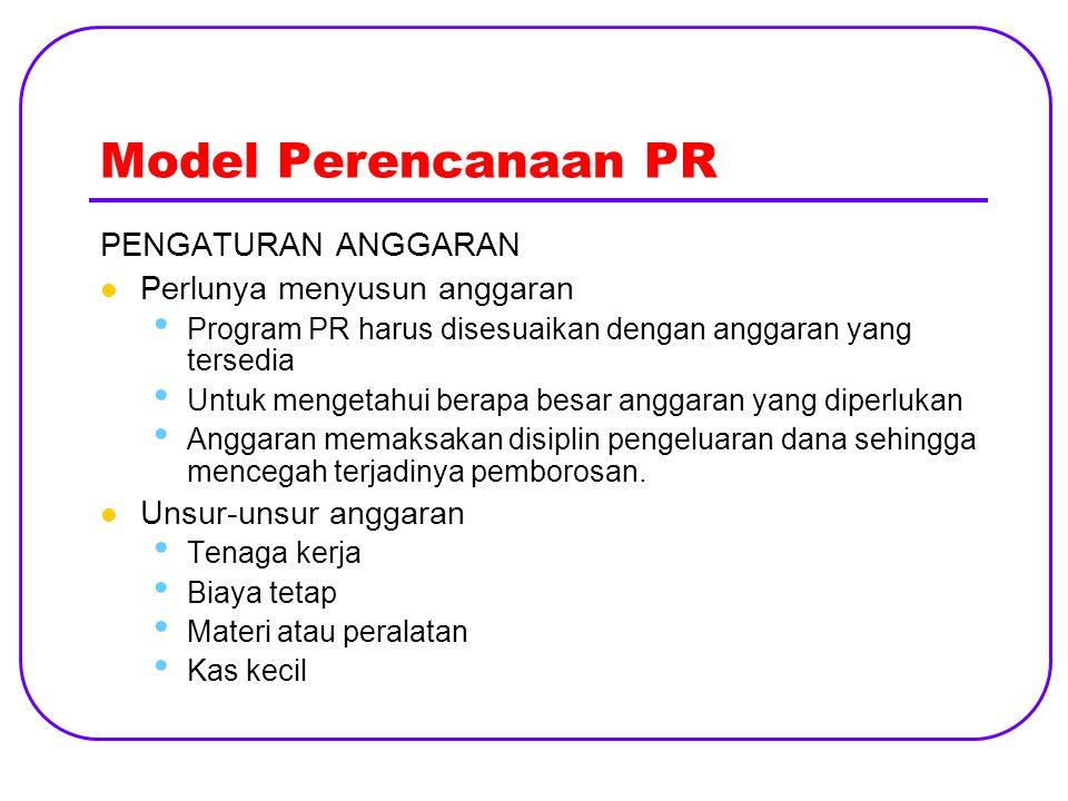 Model Perencanaan PR PENGATURAN ANGGARAN Perlunya menyusun anggaran