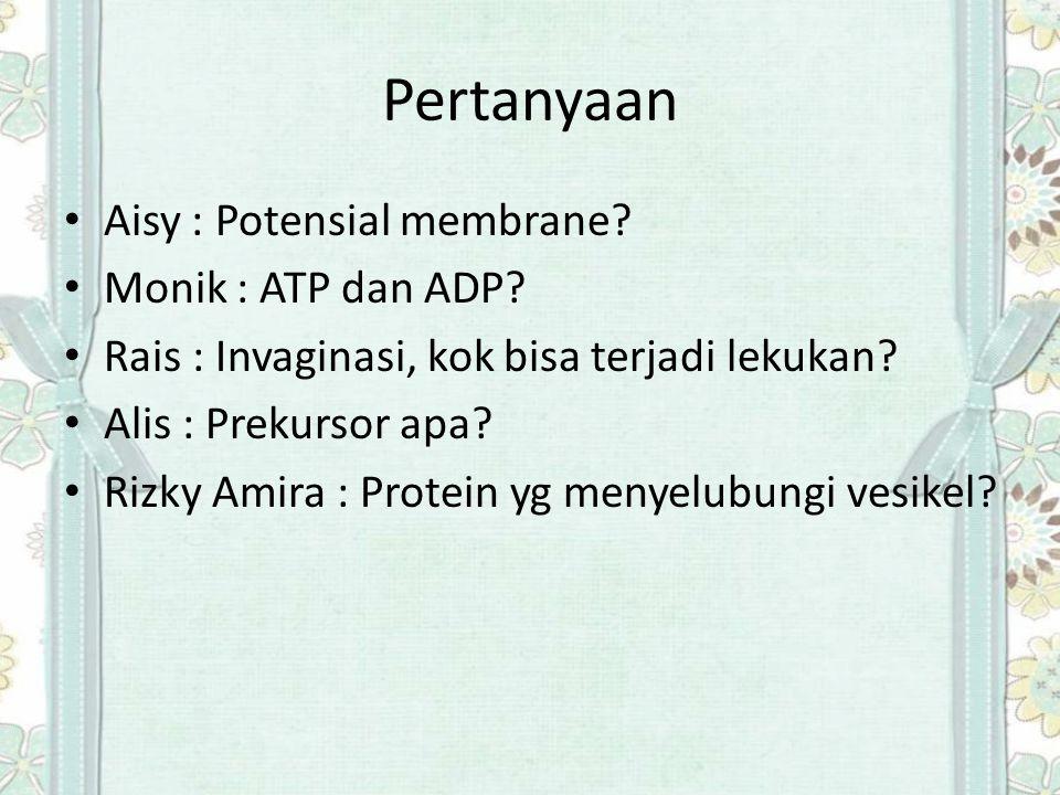 Pertanyaan Aisy : Potensial membrane Monik : ATP dan ADP
