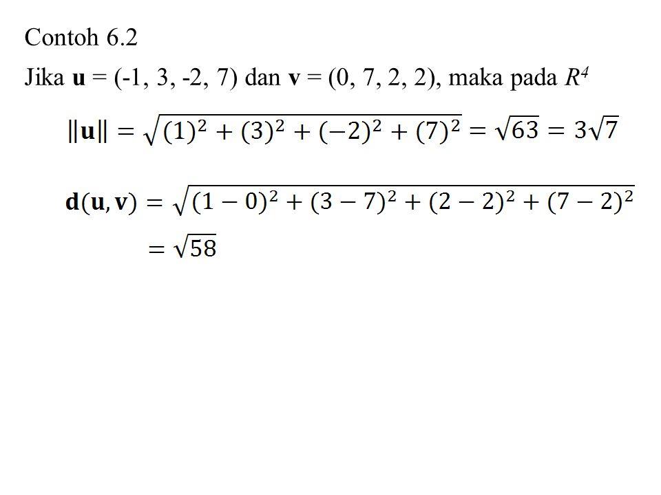 Contoh 6.2 Jika u = (-1, 3, -2, 7) dan v = (0, 7, 2, 2), maka pada R4