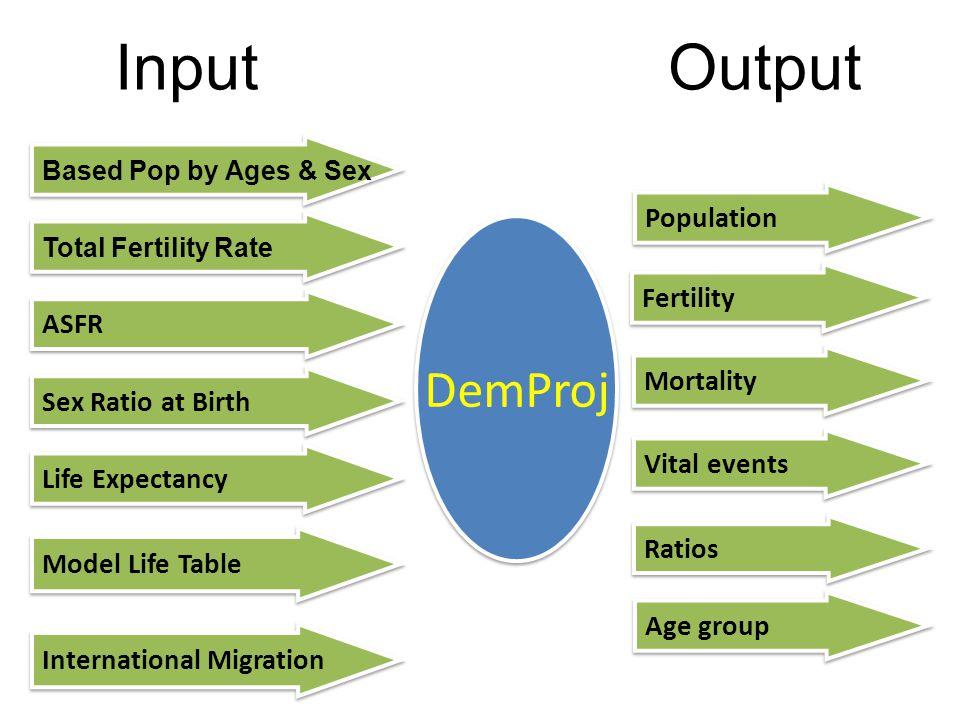 Input Output DemProj Population Fertility ASFR Mortality