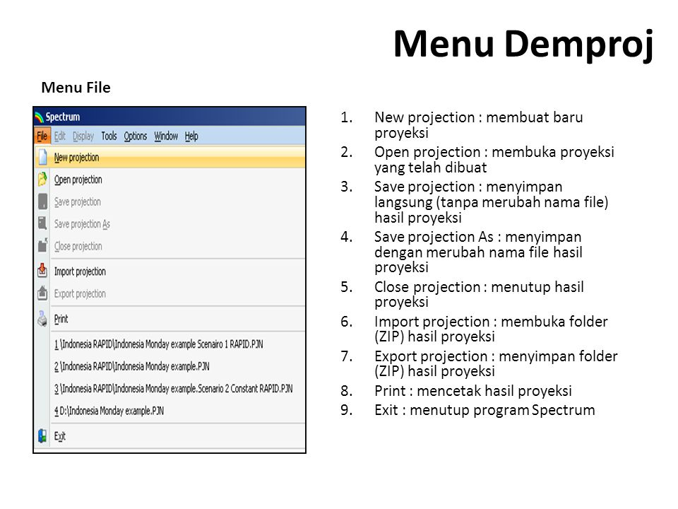 Menu Demproj Menu File New projection : membuat baru proyeksi