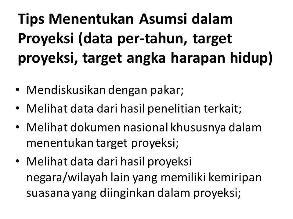 Tips Menentukan Asumsi dalam Proyeksi (data per-tahun, target proyeksi, target angka harapan hidup)
