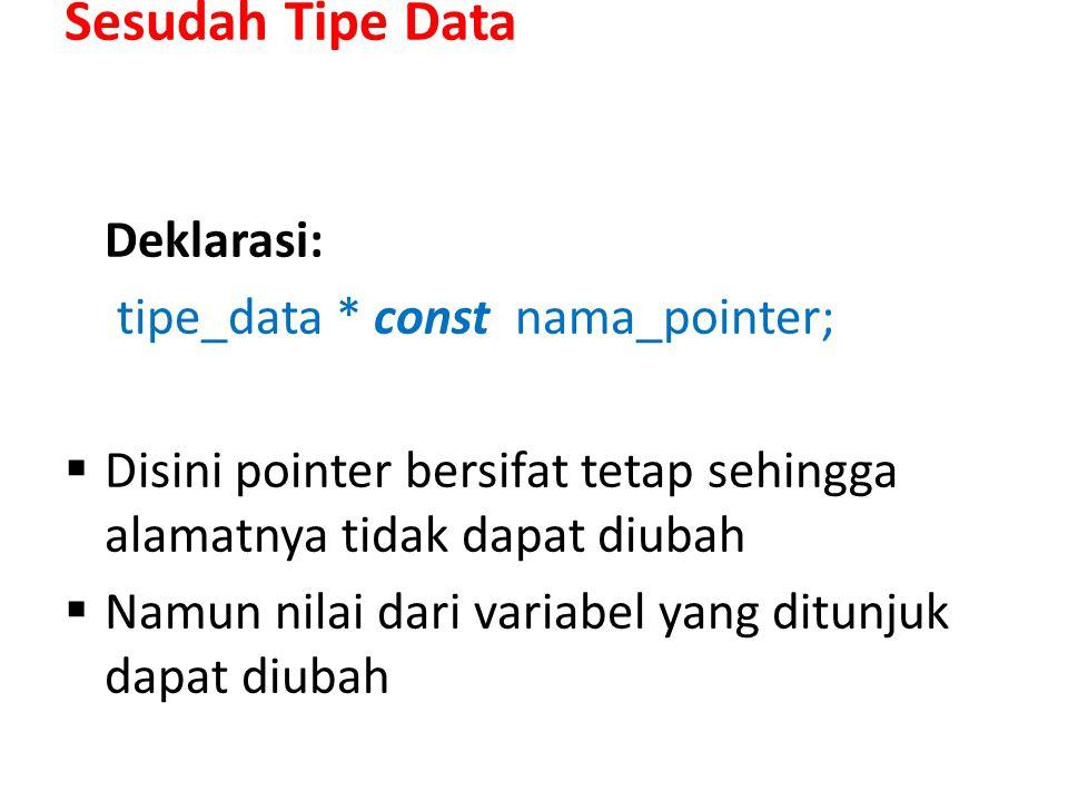 Sesudah Tipe Data Deklarasi: tipe_data * const nama_pointer;