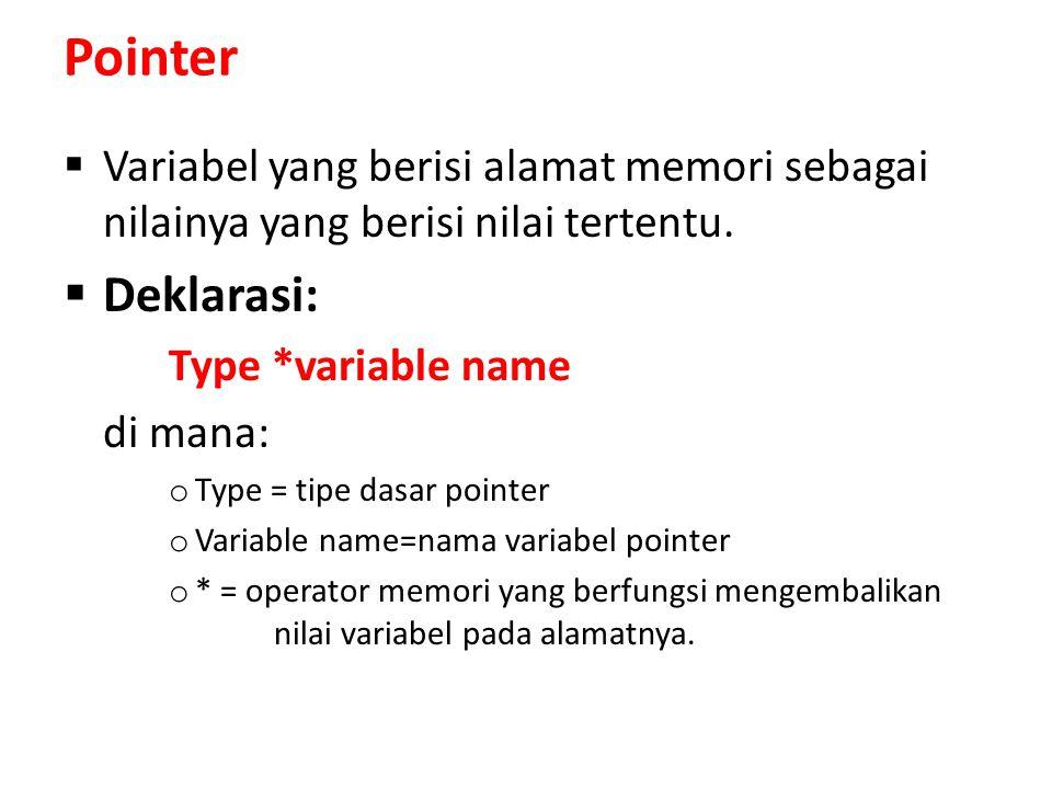 Pointer Variabel yang berisi alamat memori sebagai nilainya yang berisi nilai tertentu. Deklarasi: