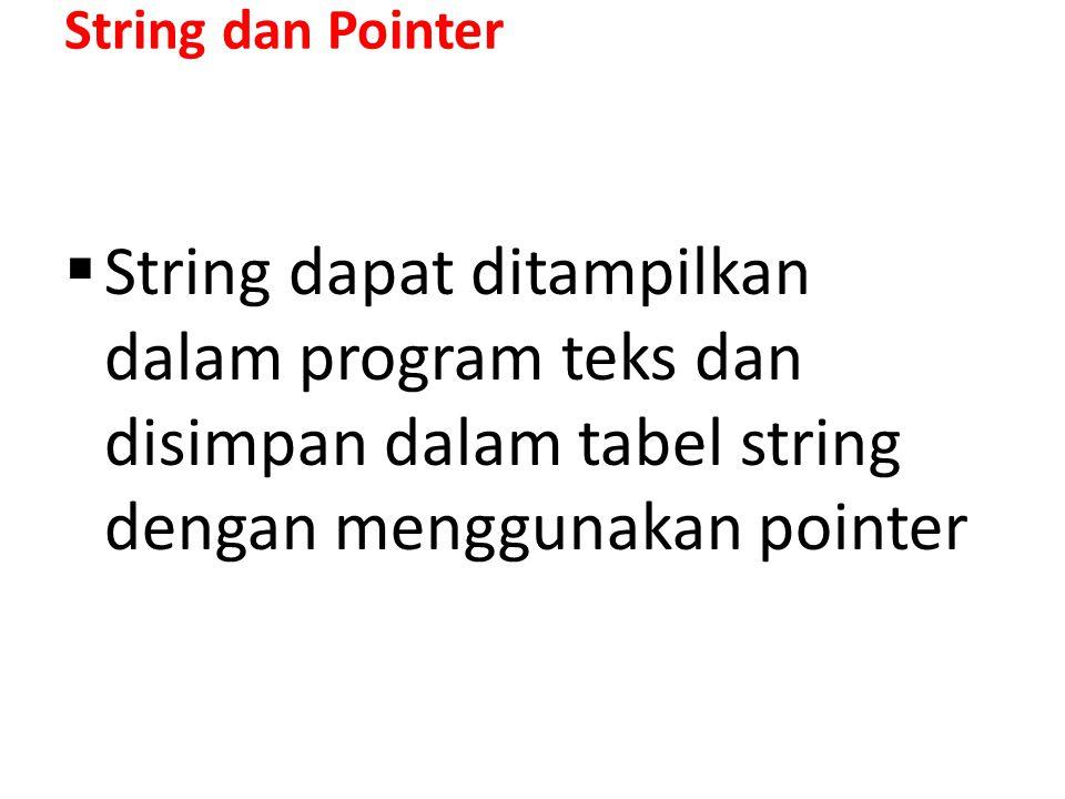 String dan Pointer String dapat ditampilkan dalam program teks dan disimpan dalam tabel string dengan menggunakan pointer.