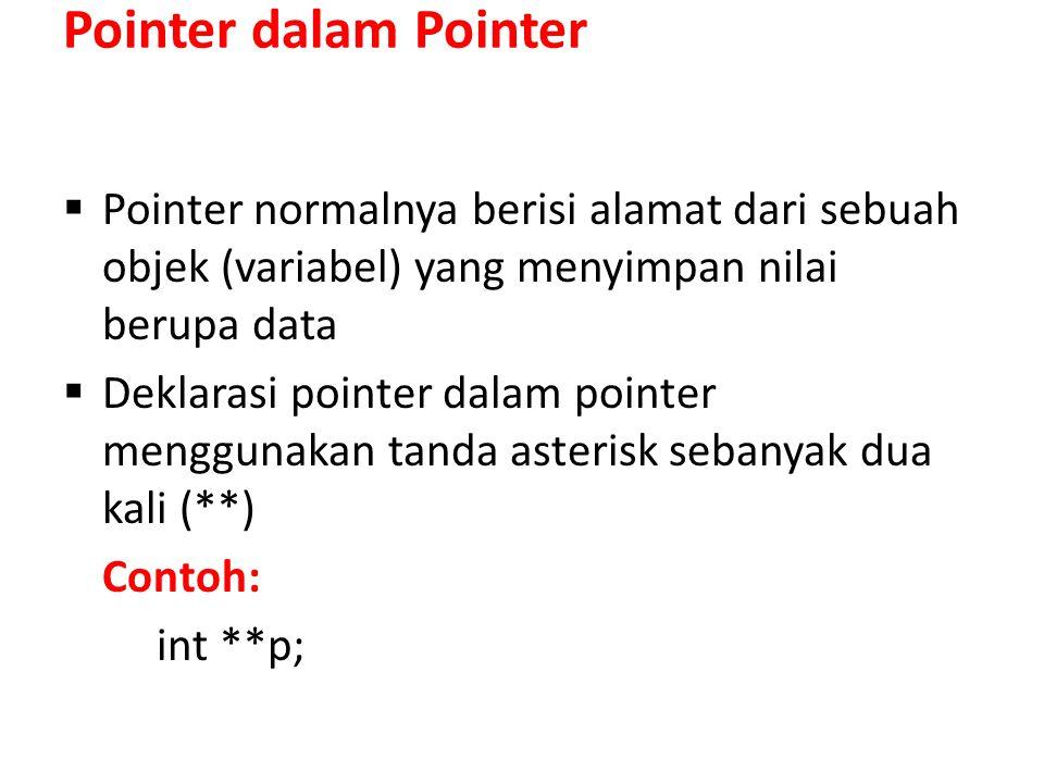 Pointer dalam Pointer Pointer normalnya berisi alamat dari sebuah objek (variabel) yang menyimpan nilai berupa data.