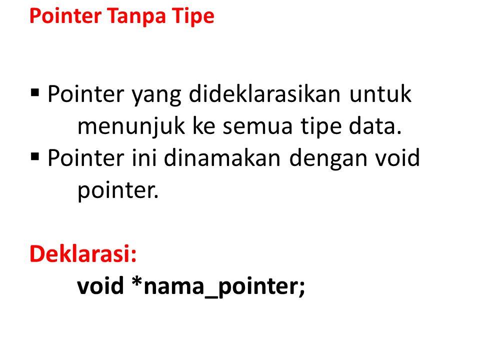 Pointer yang dideklarasikan untuk menunjuk ke semua tipe data.