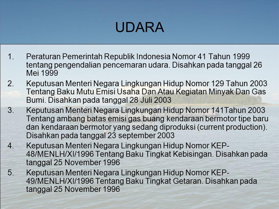 UDARA Peraturan Pemerintah Republik Indonesia Nomor 41 Tahun 1999 tentang pengendalian pencemaran udara. Disahkan pada tanggal 26 Mei 1999.