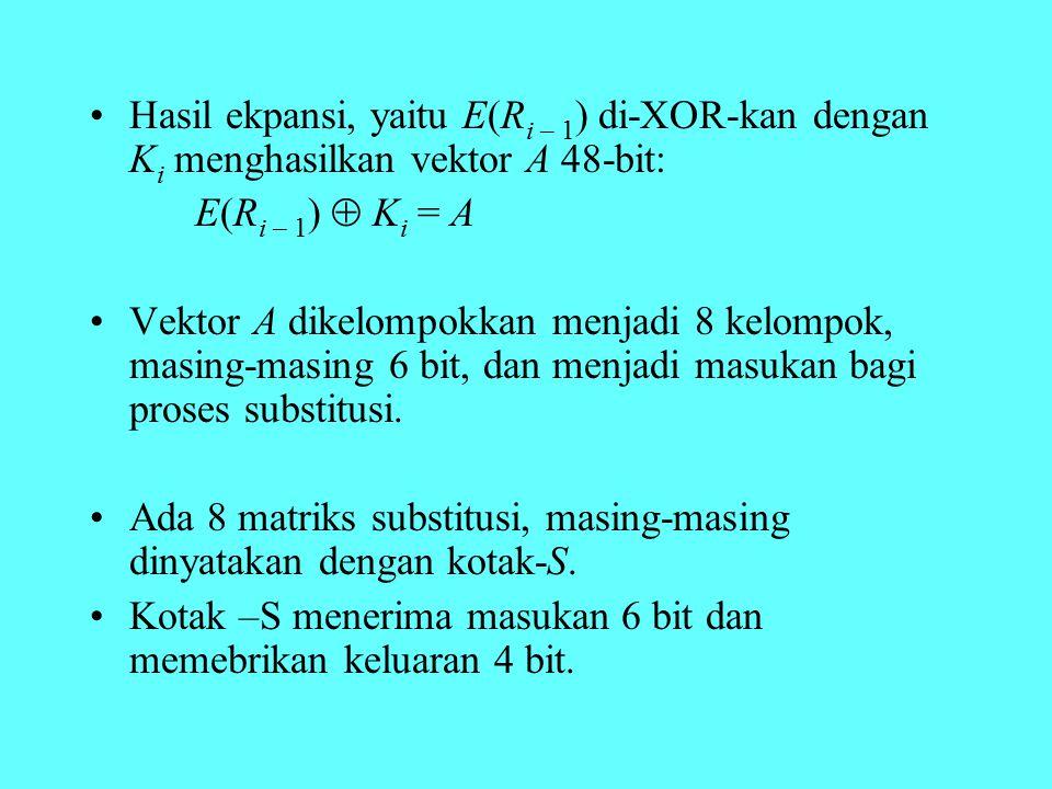 Hasil ekpansi, yaitu E(Ri – 1) di-XOR-kan dengan Ki menghasilkan vektor A 48-bit: