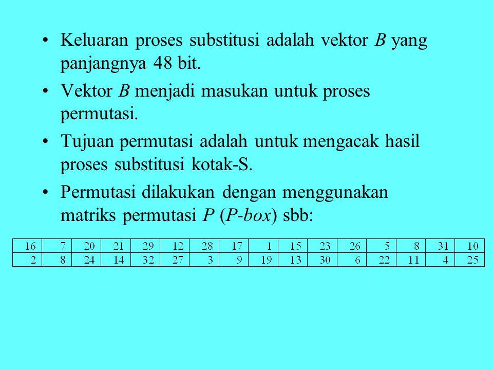Keluaran proses substitusi adalah vektor B yang panjangnya 48 bit.