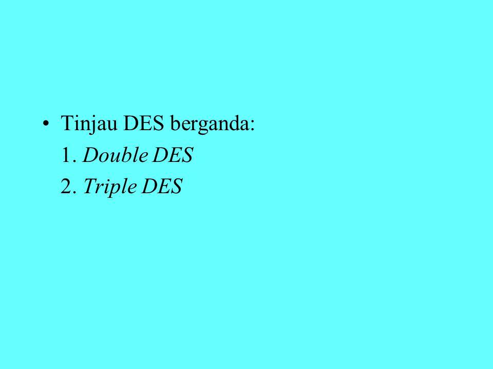 Tinjau DES berganda: 1. Double DES 2. Triple DES