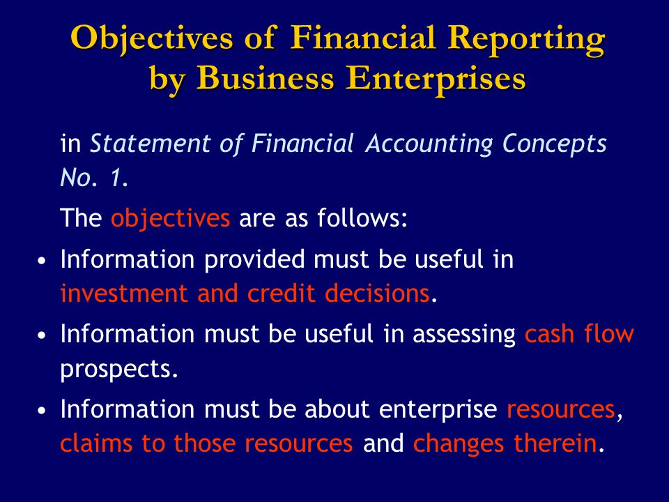Objectives of Financial Reporting by Business Enterprises