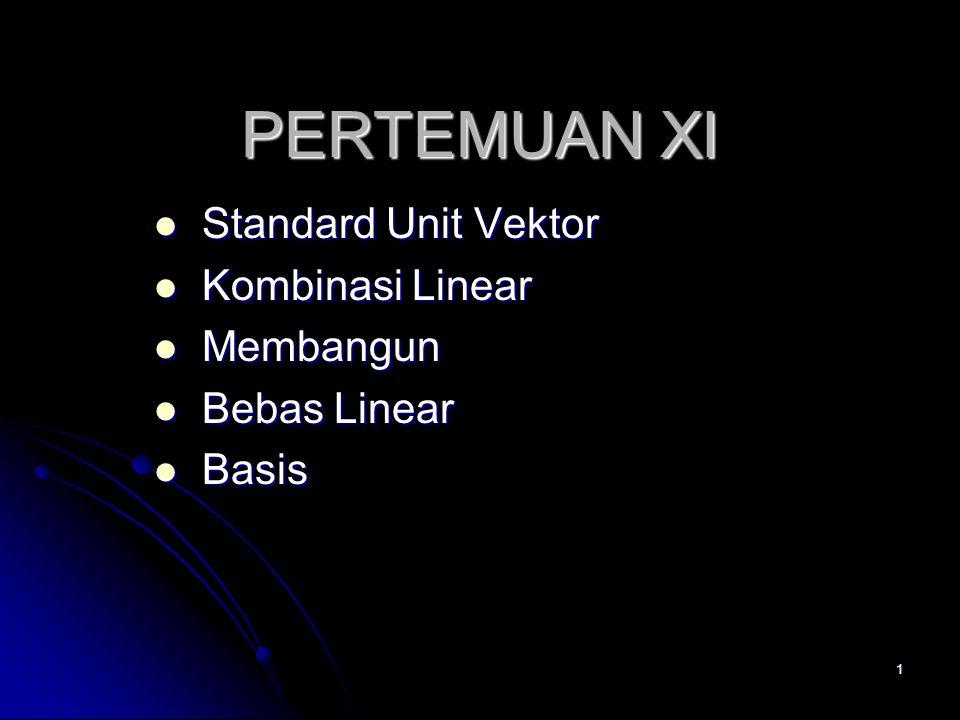 Standard Unit Vektor Kombinasi Linear Membangun Bebas Linear Basis