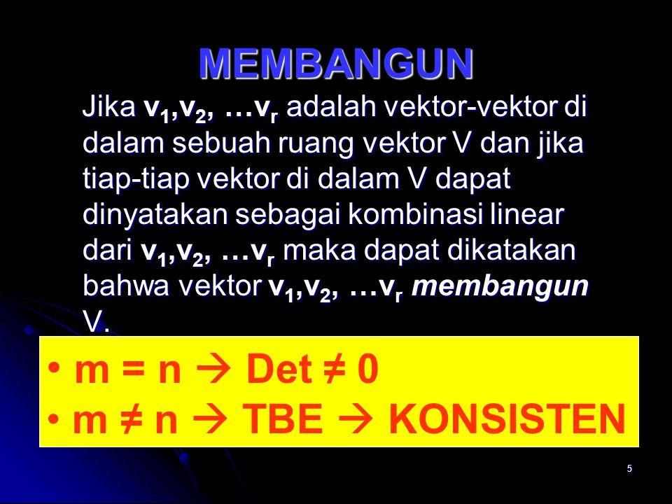 m = n  Det ≠ 0 MEMBANGUN m ≠ n  TBE  KONSISTEN