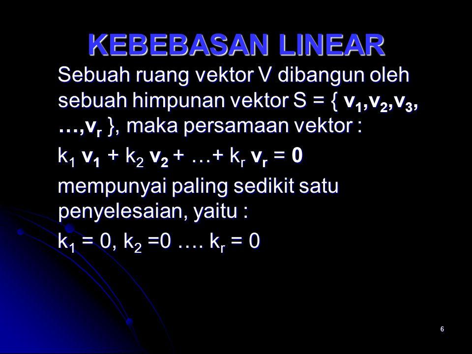 KEBEBASAN LINEAR Sebuah ruang vektor V dibangun oleh sebuah himpunan vektor S = { v1,v2,v3, …,vr }, maka persamaan vektor :