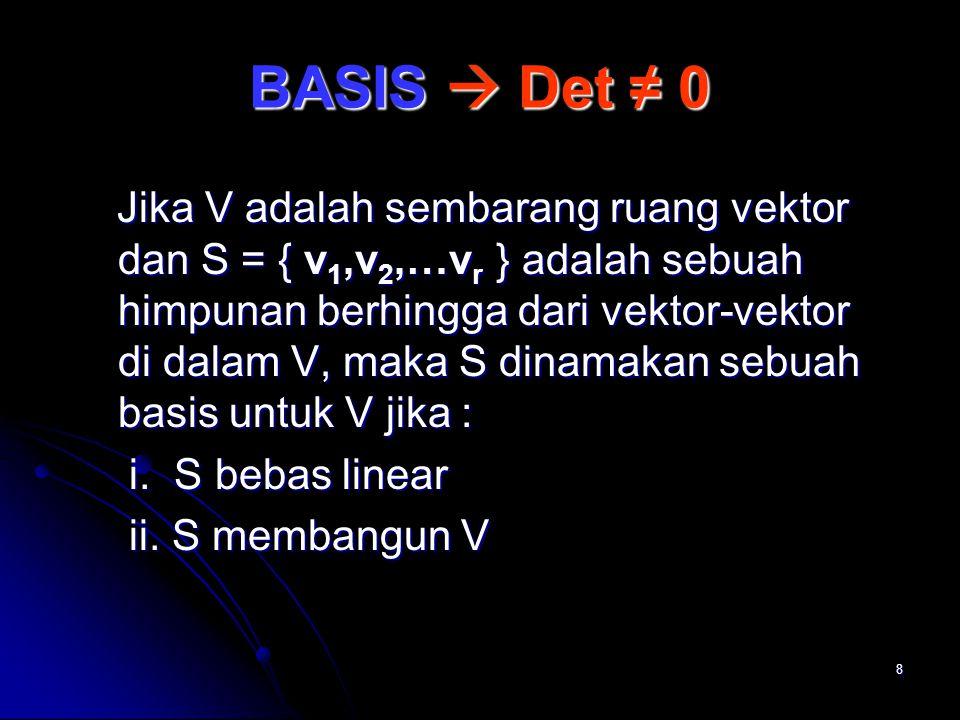 BASIS  Det ≠ 0