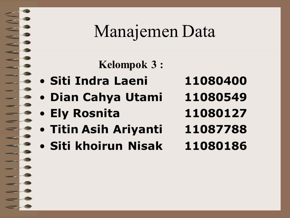 Manajemen Data Kelompok 3 : Siti Indra Laeni 11080400