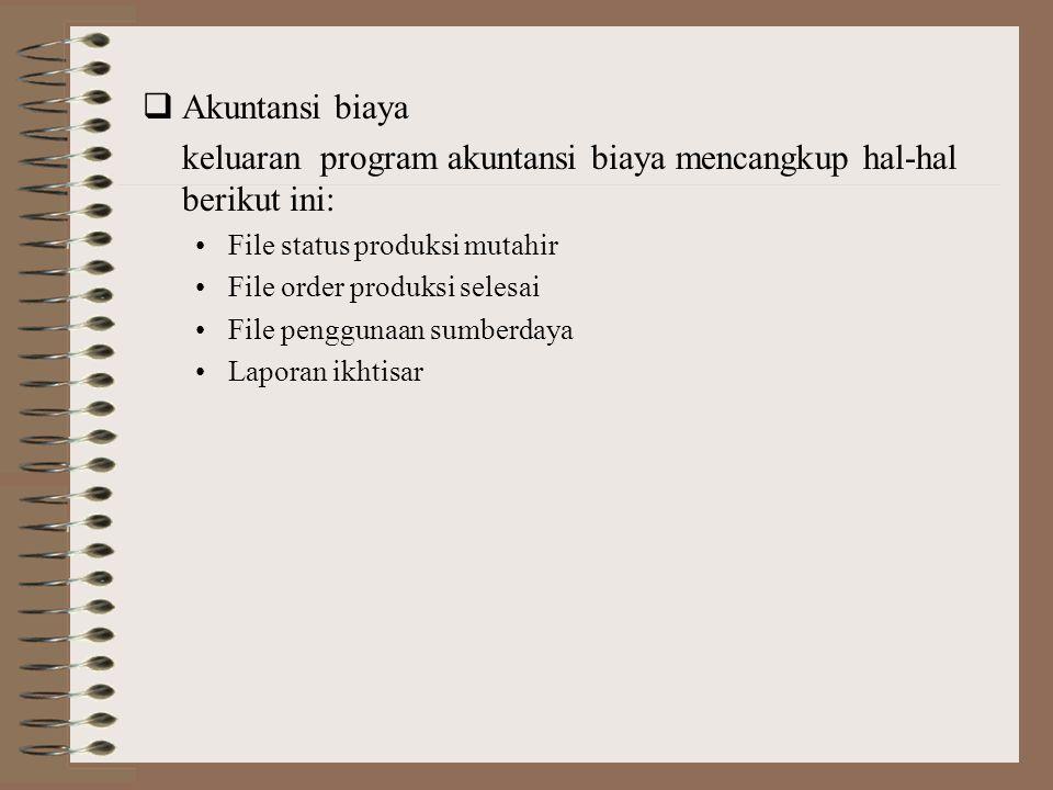 keluaran program akuntansi biaya mencangkup hal-hal berikut ini: