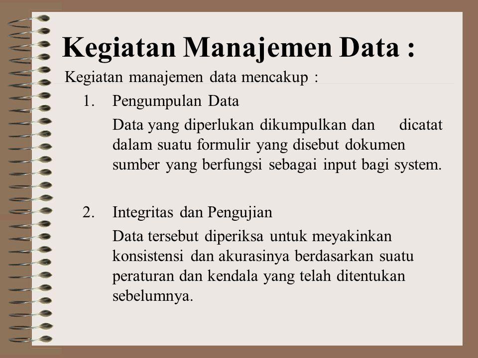Kegiatan Manajemen Data :
