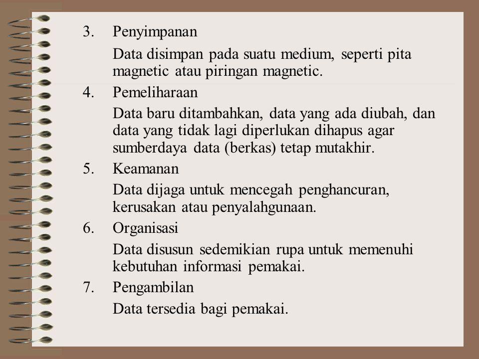 3. Penyimpanan Data disimpan pada suatu medium, seperti pita magnetic atau piringan magnetic. 4. Pemeliharaan.
