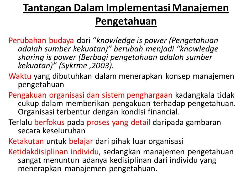 Tantangan Dalam Implementasi Manajemen Pengetahuan