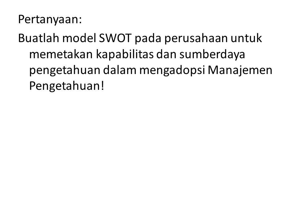 Pertanyaan: Buatlah model SWOT pada perusahaan untuk memetakan kapabilitas dan sumberdaya pengetahuan dalam mengadopsi Manajemen Pengetahuan!