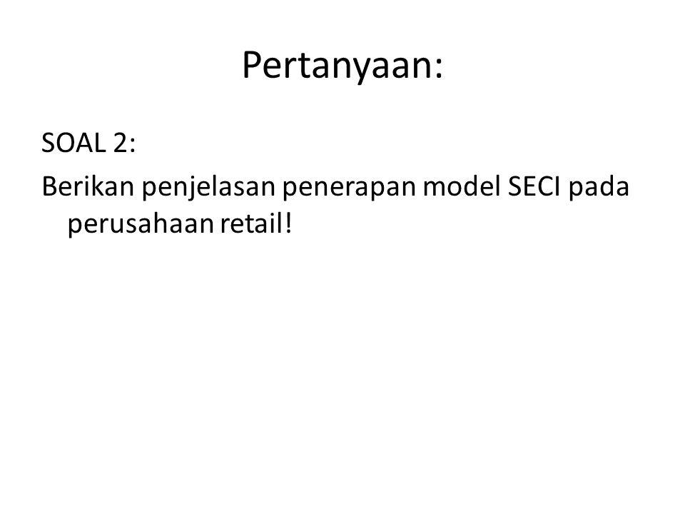 Pertanyaan: SOAL 2: Berikan penjelasan penerapan model SECI pada perusahaan retail!