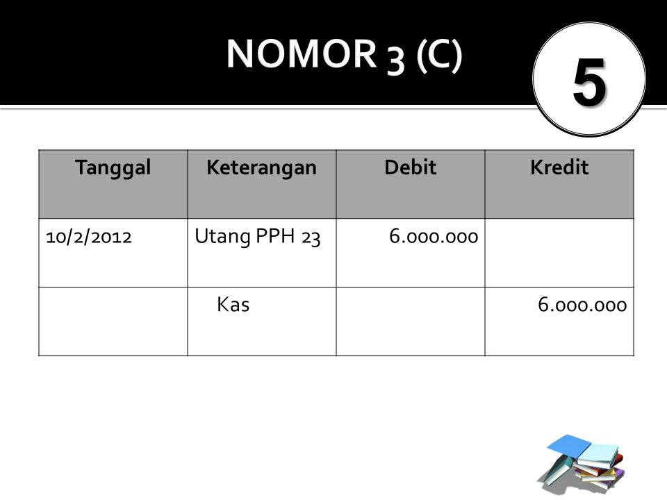 5 NOMOR 3 (C) Tanggal Keterangan Debit Kredit 10/2/2012 Utang PPH 23
