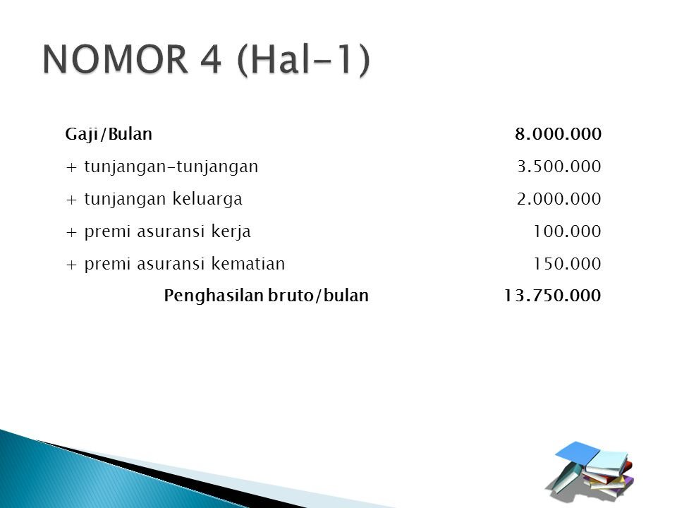 NOMOR 4 (Hal-1) Gaji/Bulan 8.000.000 + tunjangan-tunjangan 3.500.000