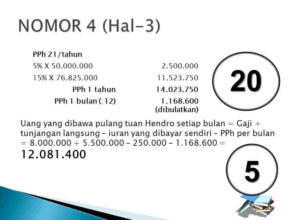 NOMOR 4 (Hal-3) PPh 21/tahun. 5% X 50.000.000. 2.500.000. 15% X 76.825.000. 11.523.750. PPh 1 tahun.