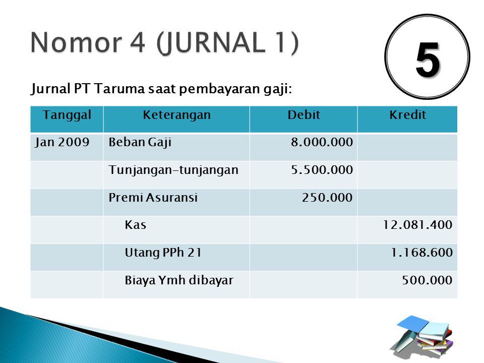 5 Nomor 4 (JURNAL 1) Jurnal PT Taruma saat pembayaran gaji: Tanggal