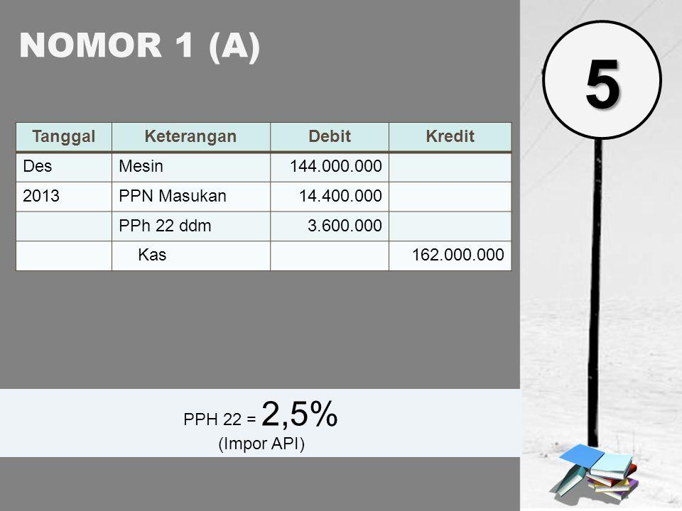5 NOMOR 1 (A) Tanggal Keterangan Debit Kredit Des Mesin 144.000.000