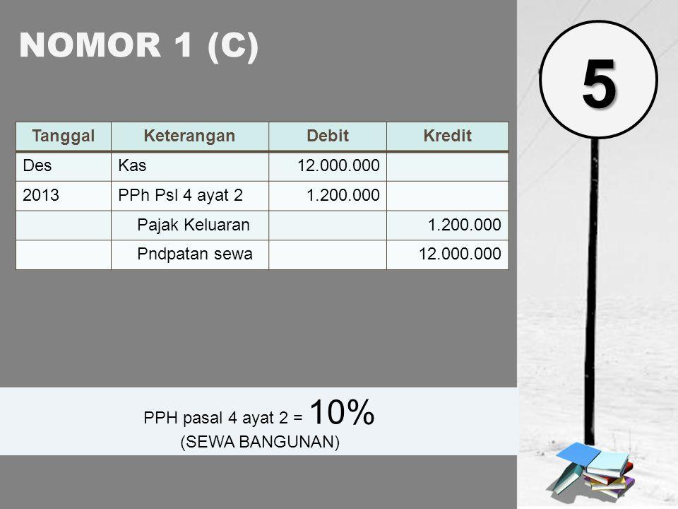 5 NOMOR 1 (C) Tanggal Keterangan Debit Kredit Des Kas 12.000.000 2013