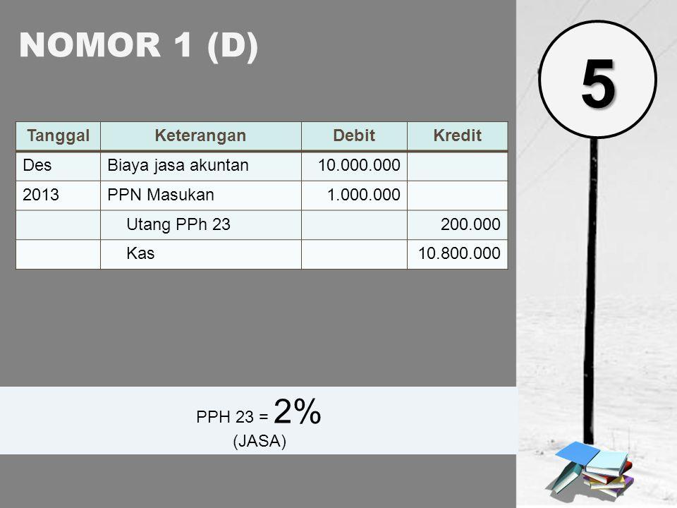 5 NOMOR 1 (D) Tanggal Keterangan Debit Kredit Des Biaya jasa akuntan