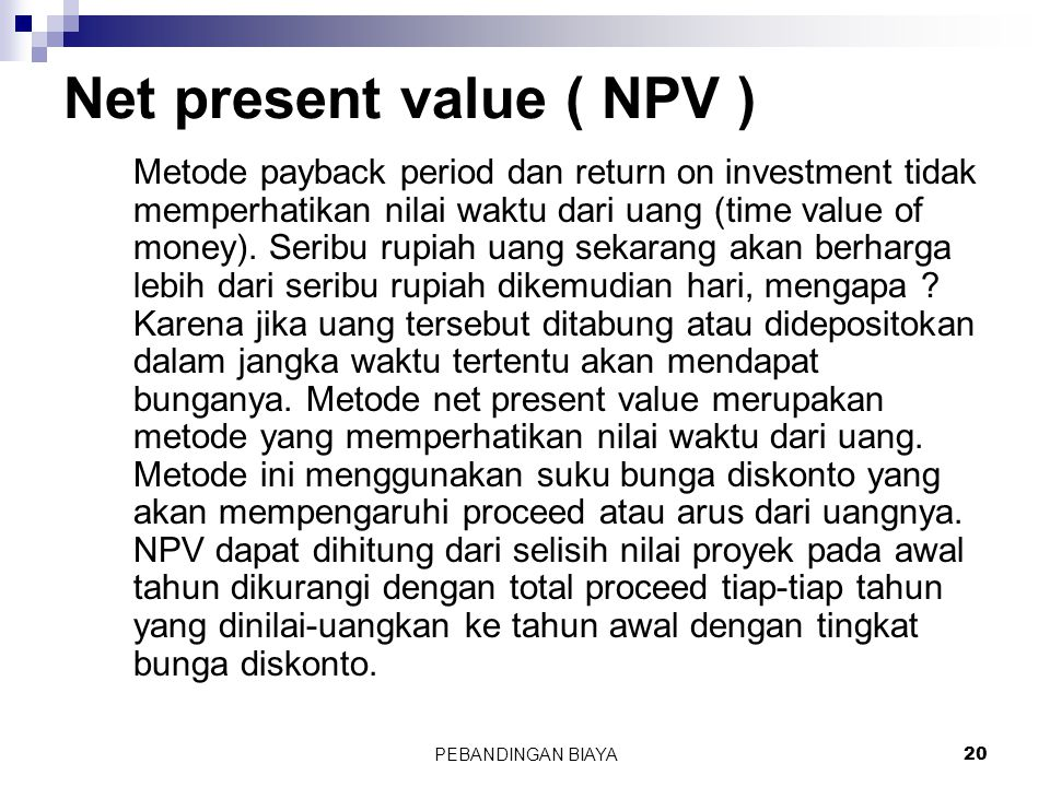 Net present value ( NPV )