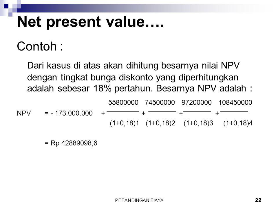 Net present value…. Contoh :